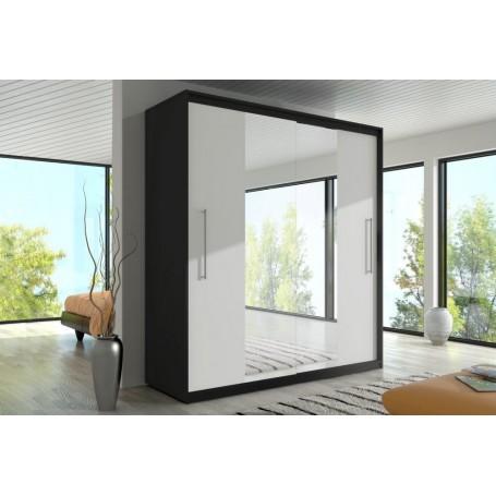 Duża szafa przesuwna z lustrem RICO czarno-biała garderoba, sypiania, salon, przedpokój