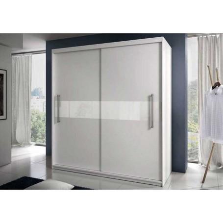 Biała szafa przesuwna z lakierowanym szkłem RICO białe szkło