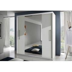 Duża szafa z lustrem drzwiami przesuwnymi RICO biała garderoba, sypiania, salon, przedpokój