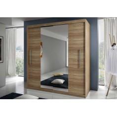 Szafa z drzwiami przesuwnymi lustrem RICO sonoma sypiania, garderoba, salon, przedpokój półki