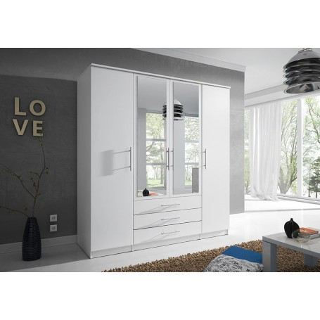 Szafa uchylna SZANTAL 4D 200 cm z lustrem, garderoba, biała