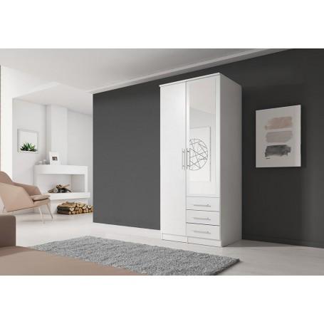 Szafa uchylna SZANTAL 2D 100 cm z lustrem, garderoba, biały