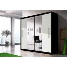 Szafa przesuwna z lustrem RICO czarno - biała sypiania, garderoba, salon, przedpokój