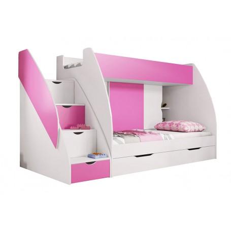 Łóżka piętrowe MARCINEK szuflady z w schodach