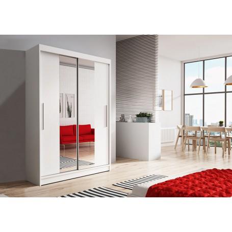 Biała szafa przesuwna z lustrem 120 cm Neomi 01 drzwi przesuwne