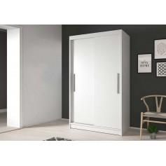 Biała szafa przesuwna bez lustra 120 cm Neomi 04 drzwi przesuwne