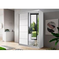 Biała szafa przesuwna z lustrem 120 cm Neomi 05 drzwi przesuwne