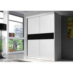 Duża biała szafa przesuwna BONO BIS 160 cm ze szkłem garderoba