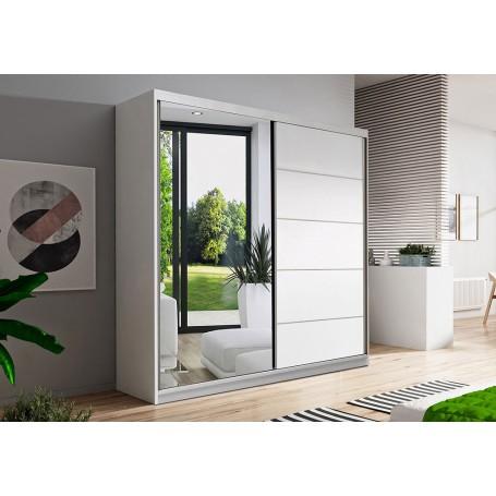 Duża biała szafa przesuwna BONO 05 160 cm z lustrem garderoba