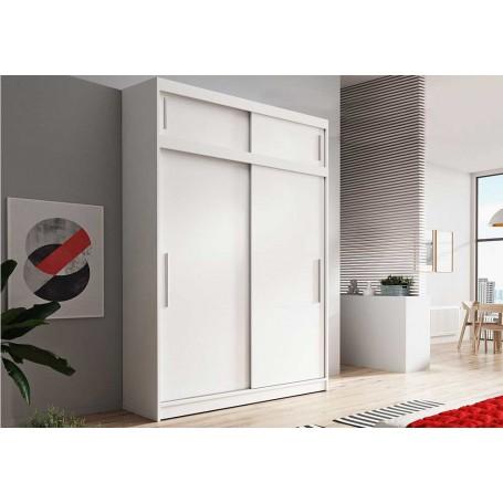 Duża szafa przesuwna z nadstawka VISTA 150 cm biała garderoba bez lustra