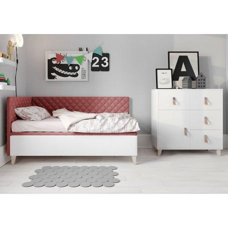 Tapicerowane łóżko do pokoju dziecięcego, miękkie zagłówki różowa tapicerka SOLO