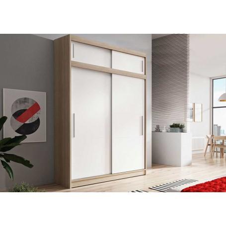 Duża szafa przesuwna z nadstawka VESTA 04 150 cm dąb sonoma biała bez lustra garderoba
