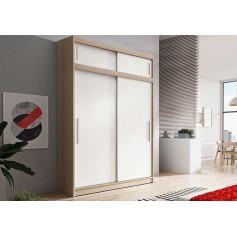 Duża szafa przesuwna z nadstawka VISTA 150 cm dąb sonoma biała bez lustra garderoba