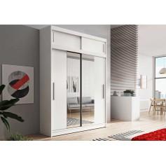 Duża szafa przesuwna z nadstawka VISTA 150 cm biała garderoba lustro