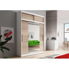 Duża szafa przesuwna z nadstawka VISTA 150 cm biała dąb sonoma garderoba lustro
