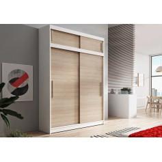 Duża szafa przesuwna z nadstawka VESTA 04 150 cm biała dąb sonoma garderoba bez lustra
