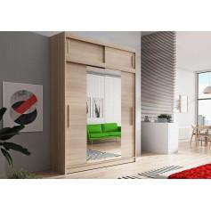 Duża szafa przesuwna z nadstawka VESTA 01 150 cm dąb sonoma garderoba lustro