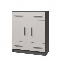 Komoda z szufladami i szafką otwieraną 2S2D 03 - OMEGA II szaro - biała