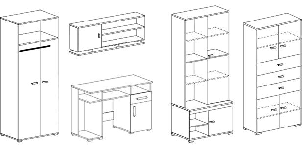 Schemat meblościanka NELLY biurko