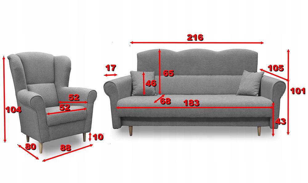 wymiary kanapy wymiary fotela