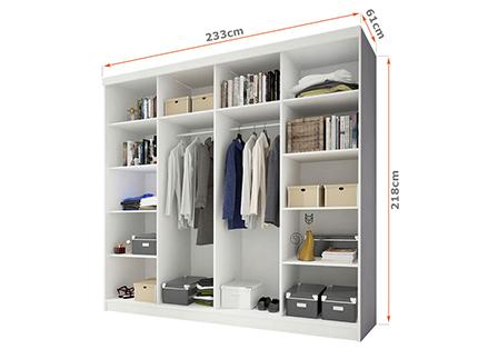 Wnętrze szafy przesuwnej 233 cm