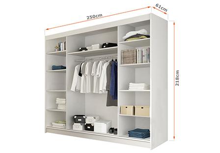 Wnętrze szafy przesuwnej 250 cm