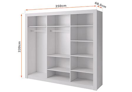 Wnętrze szafy przesuwnej 250 cm ROMA